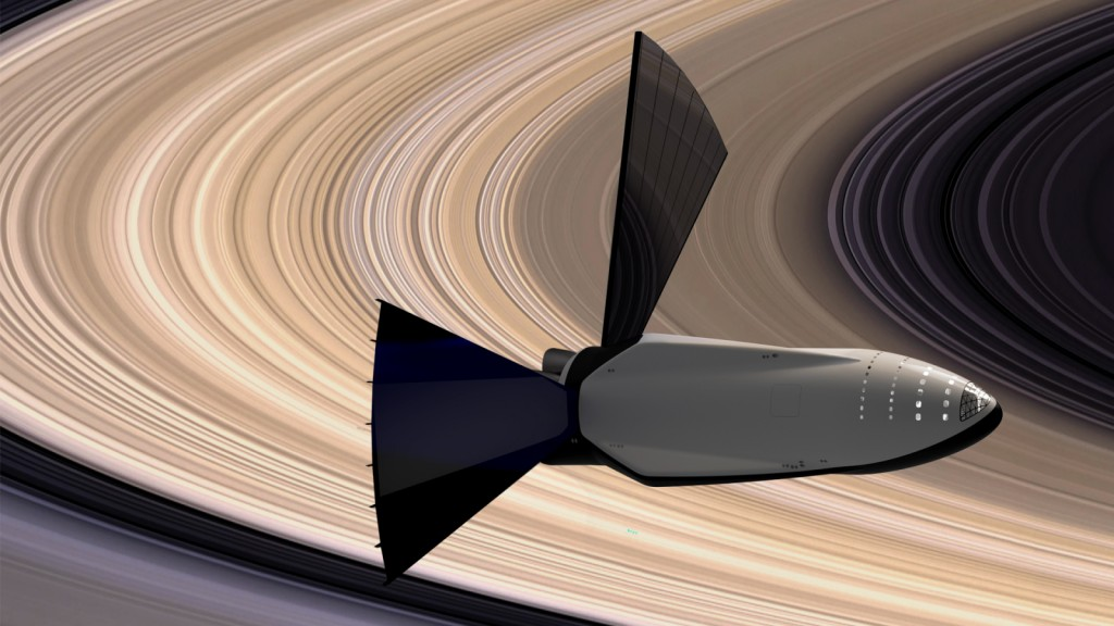 Spreading some solar sails near Saturn. (SpaceX)